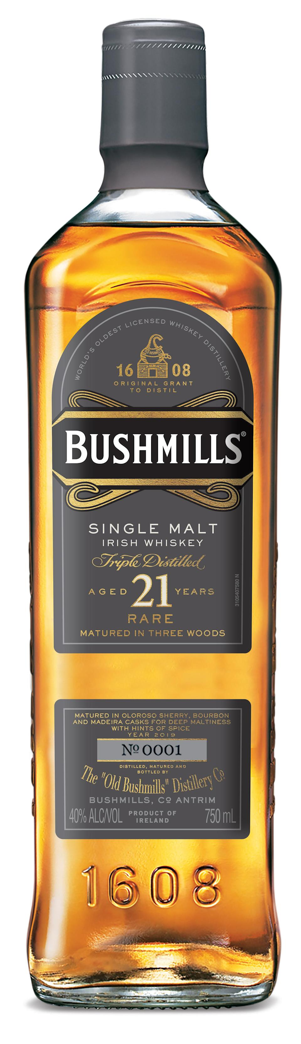 """<p><strong>Bushmills</strong></p><p>drizly.com</p><p><strong>$249.99</strong></p><p><a href=""""https://go.redirectingat.com?id=74968X1596630&url=https%3A%2F%2Fdrizly.com%2Fliquor%2Fwhiskey%2Firish-whiskey%2Fbushmills-21-year-single-malt-irish-whiskey%2Fp2285%3Fvariant%3D3063&sref=https%3A%2F%2Fwww.delish.com%2Fentertaining%2Fg31132182%2Fbest-irish-whiskey%2F"""" rel=""""nofollow noopener"""" target=""""_blank"""" data-ylk=""""slk:BUY NOW"""" class=""""link rapid-noclick-resp"""">BUY NOW</a></p><p>This is one that belongs on your bar cart or perhaps hidden somewhere special in your desk. Bushmills has a 400-year history of making delicious, high-quality Irish whiskey and this is one of its finest creations. It takes 21 years for this bottle to make its way to your door, so what better way to celebrate Irish history than with a piece of it? </p>"""