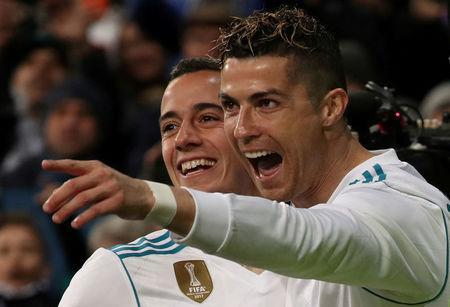 Soccer Football - La Liga Santander - Real Madrid vs Girona - Santiago Bernabeu, Madrid, Spain - March 18, 2018 Real Madrid's Cristiano Ronaldo celebrates scoring their second goal REUTERS/Sergio Perez