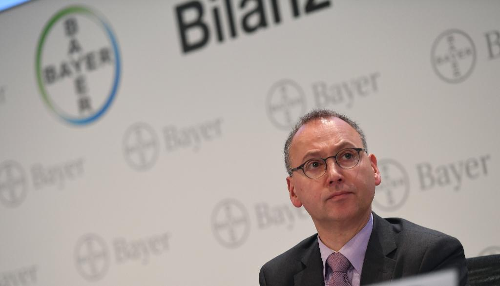 Werner Baumann, CEO of German chemical and pharmaceuticals group Bayer, attends a press conference at the company's headquarters in Leverkusen (AFP Photo/PATRIK STOLLARZ)
