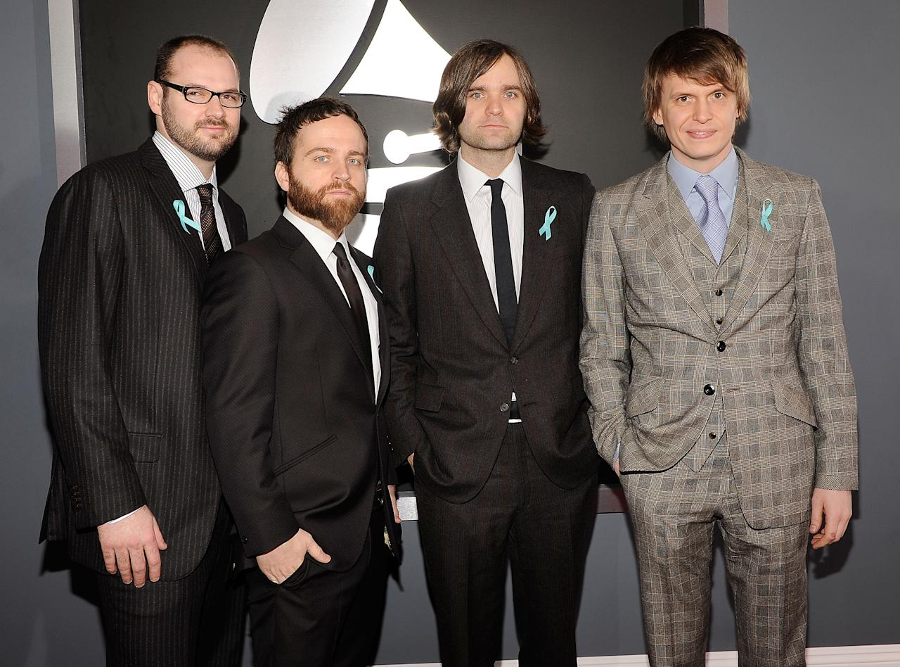 Jason McGerr, Nicholas Harmer, Ben Gibbard and Chris Walla of Death Cab for Cutie arrive at the 51st Annual Grammy Awards at the Staples Center on February 8, 2009, in Los Angeles.