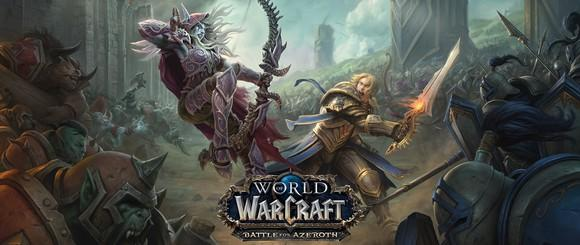 World of Warcraft: Battle for Azeroth game art depicting a fantasy world with two characters wielding a bow and a sword in battle.