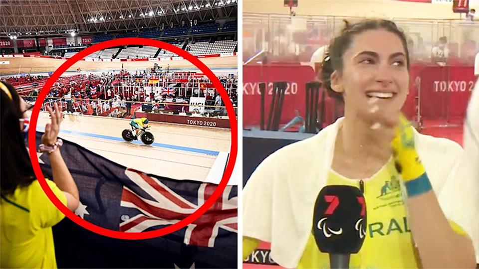 Paige Greco (pictured right) fighting back tears during an interview and (pictured left) winning gold at the Paralympics.