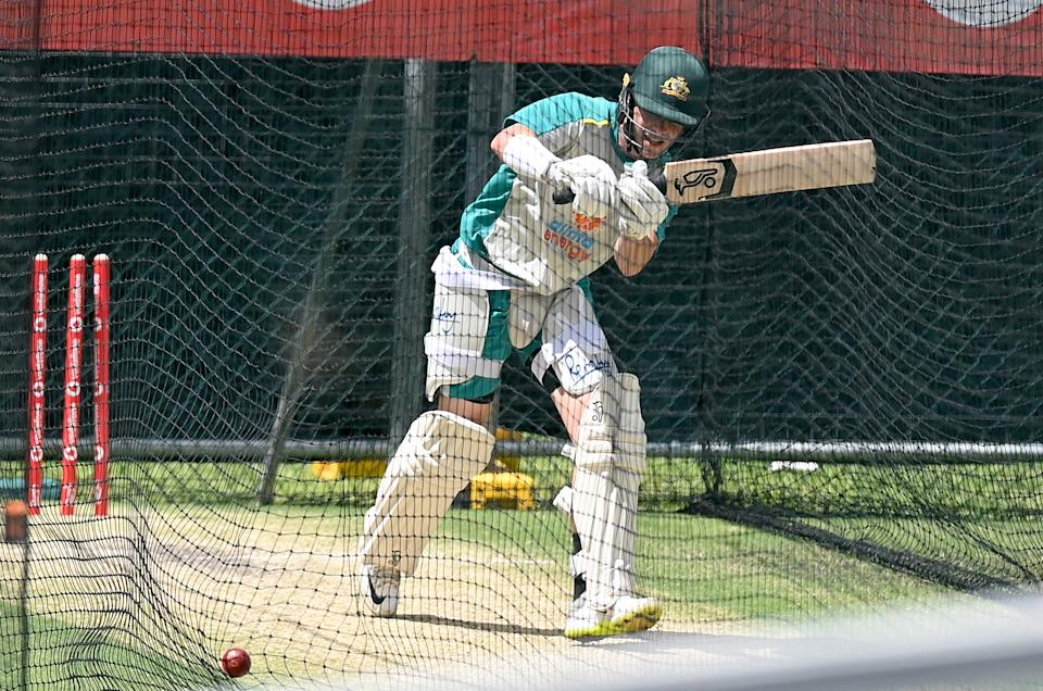 Marcus Harris bats during an Australian Nets session at The Gabba on January 14, 2021 in Brisbane, Australia. (Photo by Bradley Kanaris/Getty Images)