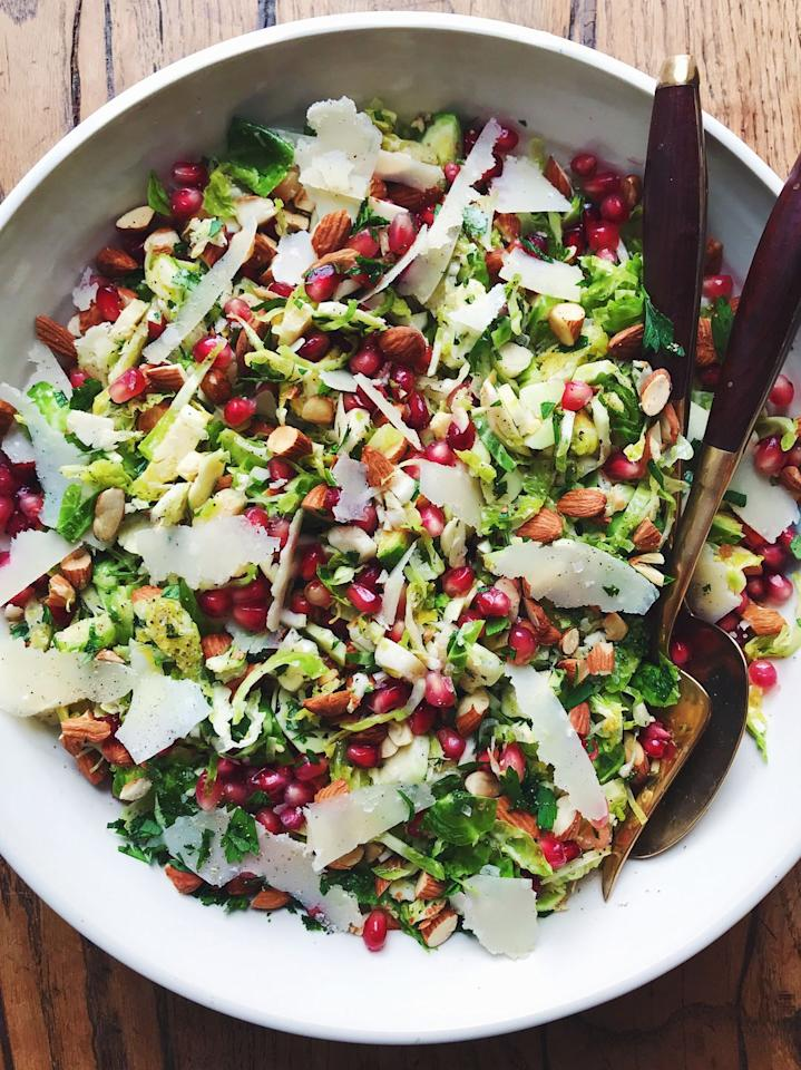 """<p>Add some veggies to the table with this pretty salad.</p><p>Get the recipe from <a rel=""""nofollow"""" href=""""https://www.delish.com/cooking/recipe-ideas/a21085670/brussels-sprouts-salad-recipe/"""">Delish</a>.</p>"""