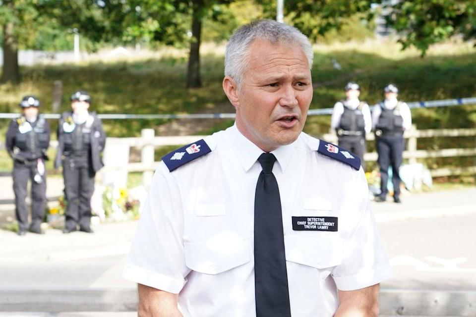 Chief Superintendent Trevor Lawry by speaking to the media at Cator Park in Kidbrooke, south London (Ian West/PA) (PA Wire)