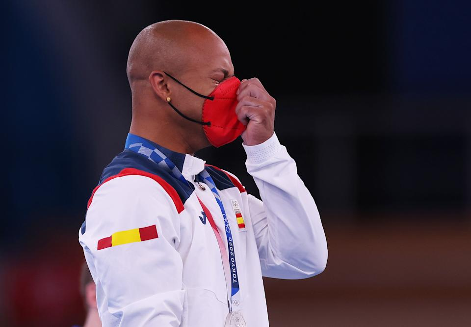 TOKYO, JAPAN - AUGUST 01: Silver medalist Rayderley Zapata of Team Spain reacts on the podium during the Men's Floor Exercise Victory Ceremony on day nine of the Tokyo 2020 Olympic Games at Ariake Gymnastics Centre on August 01, 2021 in Tokyo, Japan. (Photo by Jamie Squire/Getty Images)