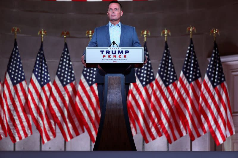 FILE PHOTO: Former acting Director of National Intelligence Richard Grenell delivers a pre-recorded address to the largely virtual 2020 Republican National Convention in Washington