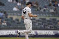 New York Yankees starting pitcher Gerrit Cole (45) reacts after allowing a two-run home run to Tampa Bay Rays designated hitter Austin Meadows during the fourth inning of a baseball game, Thursday, June 3, 2021, at Yankee Stadium in New York. (AP Photo/Kathy Willens)