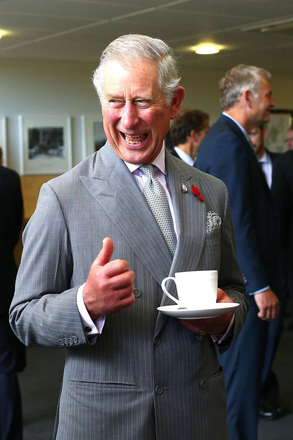<p>Prince Charles seems particularly enthused about his tea at New Zealand's Cawthron Institute.<br></p>