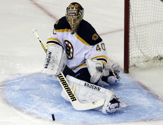 Boston Bruins goalie Tuukka Rask (40), of Finland, stops a shot on the goal against the New York Rangers during the first period in Game 3 of the Eastern Conference semifinals in the NHL hockey Stanley Cup playoffs Tuesday, May 21, 2013, in New York. (AP Photo/Frank Franklin II)