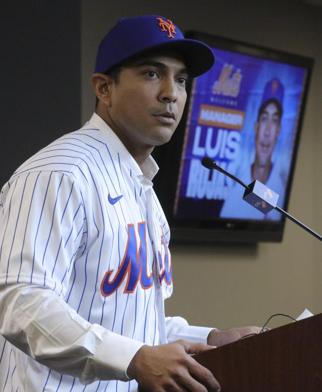 New York Mets new manager Luis Rojas speaks during a news conference after his introduction, Friday, Jan. 24, 2020, in New York. (AP Photo/Bebeto Matthews)
