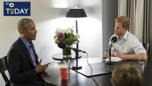 Former President of the United States Barack Obama, left is interviewed by Britain's Prince Harry for the BBC Radio 4 Today program that he guest edited. Obama told Prince Harry in an interview broadcast Wednesday, Dec. 27, 2017, that he felt serene the day he left the White House despite the sense that much important work remained unfinished. (BBC Radio 4 Today/PA via AP)