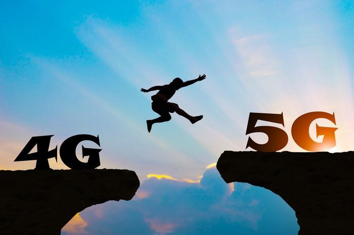 A man leads from a cliff labeled 4G across a chasm to another cliff labeled 5G.