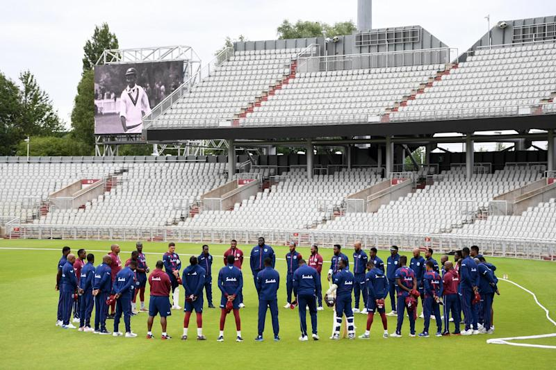 West Indies team observed a minutes silence in memory of former West Indies batsman Sir Everton Weekes on Thursday: Getty Images for ECB