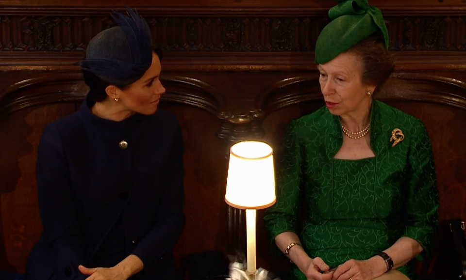 <p>When Meghan Markle put her acting skills to good use and pretended to care about whatever Princess Anne was saying. </p>