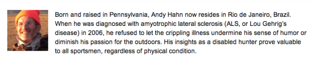 Mr. Hahn's author bio on an outdoor blog. (Alloutdoor.com)