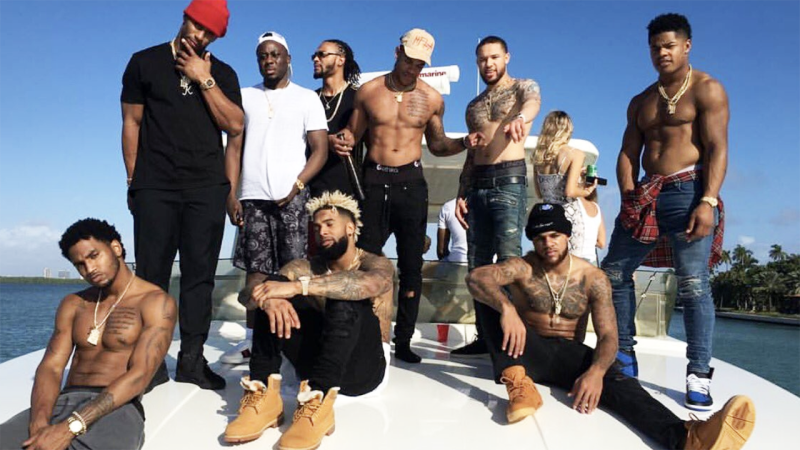 Victor Cruz and his teammates, pictured here on a boat in Miami.
