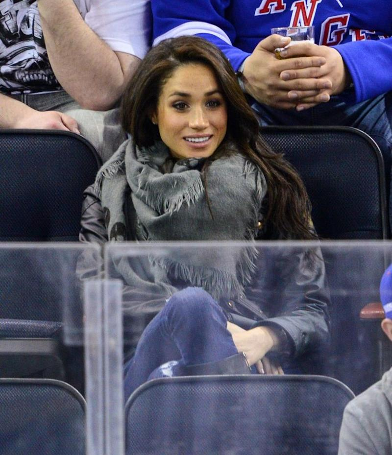 Meghan Markle watches a Rangers hockey game in 2013