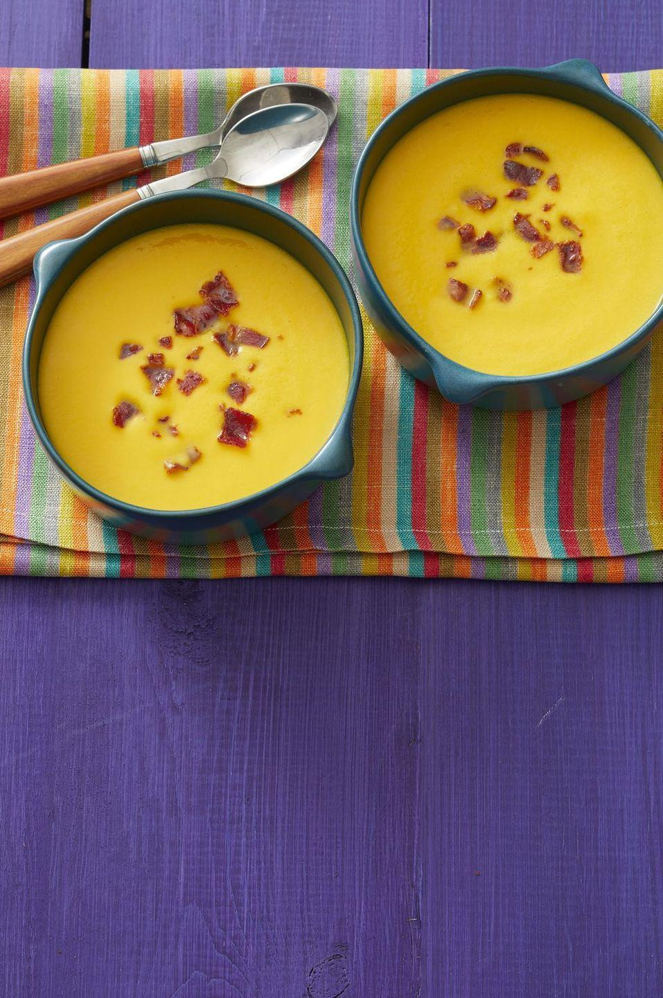 "<p>Start your meal off with bowl of creamy butternut squash soup. It'll get everyone excited for the main course!</p><p><strong><a href=""https://www.thepioneerwoman.com/food-cooking/recipes/a32947322/butternut-squash-soup-with-bacon-recipe/"" rel=""nofollow noopener"" target=""_blank"" data-ylk=""slk:Get the recipe."" class=""link rapid-noclick-resp"">Get the recipe.</a></strong></p><p><strong><a class=""link rapid-noclick-resp"" href=""https://go.redirectingat.com?id=74968X1596630&url=https%3A%2F%2Fwww.walmart.com%2Fbrowse%2Fhome%2Fthe-pioneer-woman-cookware%2F4044_623679_6182459_9190581&sref=https%3A%2F%2Fwww.thepioneerwoman.com%2Ffood-cooking%2Fmeals-menus%2Fg33251890%2Fbest-thanksgiving-sides%2F"" rel=""nofollow noopener"" target=""_blank"" data-ylk=""slk:SHOP DUTCH OVENS"">SHOP DUTCH OVENS</a><br></strong></p>"