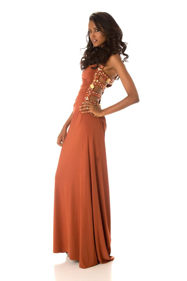 Miss Ethiopia 2012, Helen Getachew, poses in her evening gown at Planet Hollywood Resort and Casino, in Las Vegas, Nevada. She will spend the next few weeks touring, filming, rehearsing, and making new friends while she prepares to compete for the coveted Miss Universe Diamond Nexus Labs Crown.