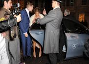 LONDON, UNITED KINGDOM - NOVEMBER 04: Professor Green and Millie Mackintosh arrive in style in a Mercedes-Benz at the Harper's Woman of the Year Awards at Claridge's Hotel on November 4, 2014 in London, England. (Photo by David M. Benett/Getty Images for Mercedes-Benz)