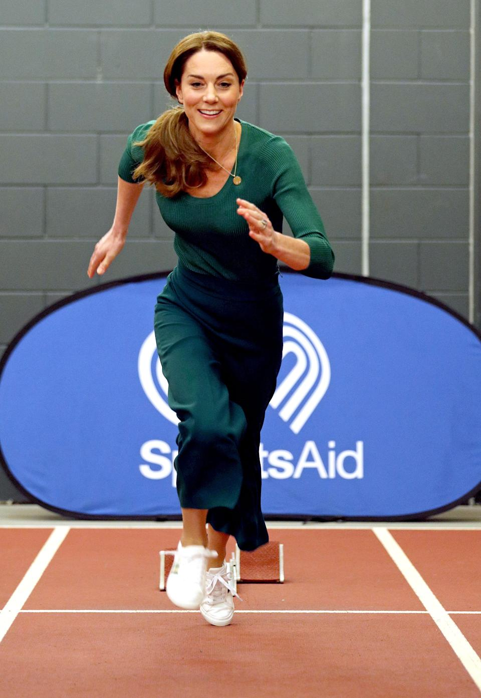 The Duchess of Cambridge, during a SportsAid event at the London Stadium in February (Yui Mok/PA)