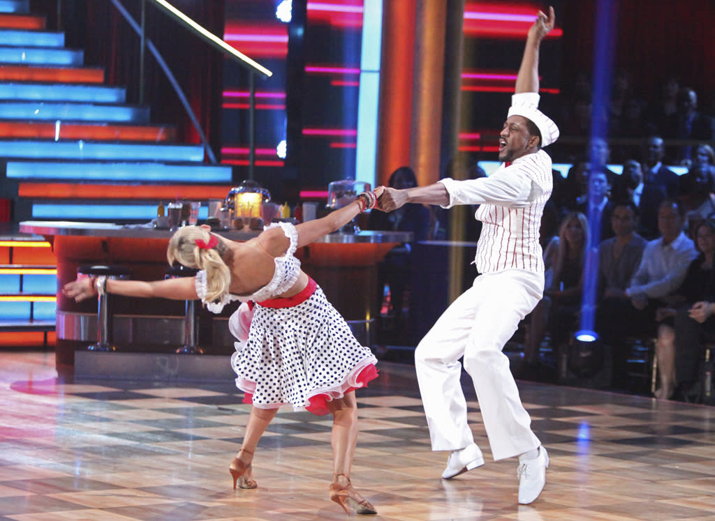 "<p class=""MsoNormal""><span style=""font-size:10.0pt;"">Jaleel White, best known as Steve Urkel, slipped into a soda-jerk ensemble (complete with dorky white cap) for a Week 2 jive with his poodle-skirt-wearing partner, Kym Johnson.</span></p>"