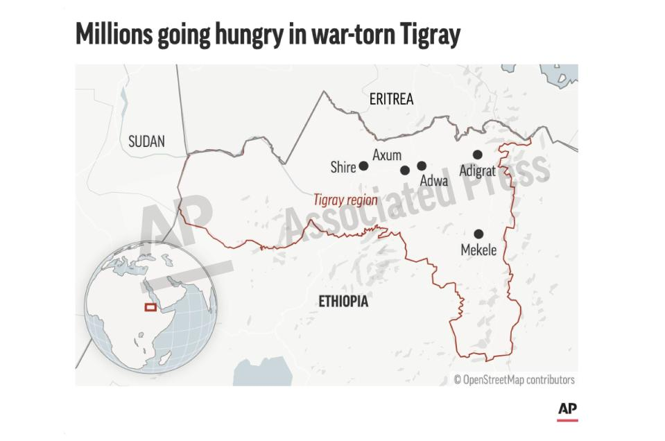 This preview image of an AP digital embed shows a map of the Tigray region in Ethiopia. More than 4.5 million people, or nearly the entire population, need emergency food. (AP Digital Embed)