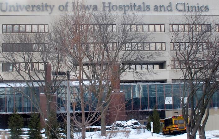 In this Feb. 13, 2014 photo is the University of Iowa Hospitals and Clinics in Iowa City, Iowa. The hospital has decided not to bill the state for Medicaid-funded abortions, working around a new law that requires Iowa Gov. Terry Branstad to approve any payments for publicly-funded abortions. (AP Photo/Ryan J. Foley)