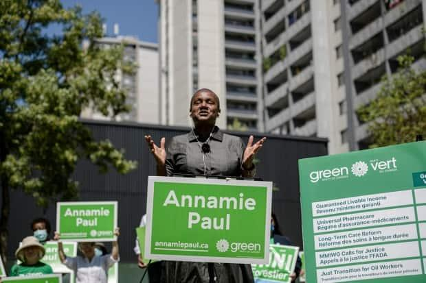 Green Party Leader Annamie Paul released her party's election platform today but did not hold a press conference or take questions from the media to mark the milestone. (Christopher Katsarov/The Canadian Press - image credit)