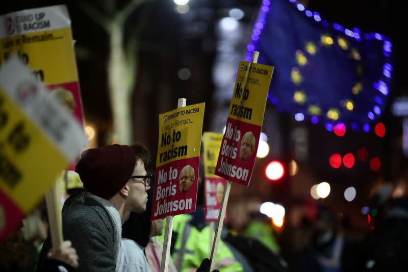 Protesters demonstrate at Downing Street following the result of the general election in London