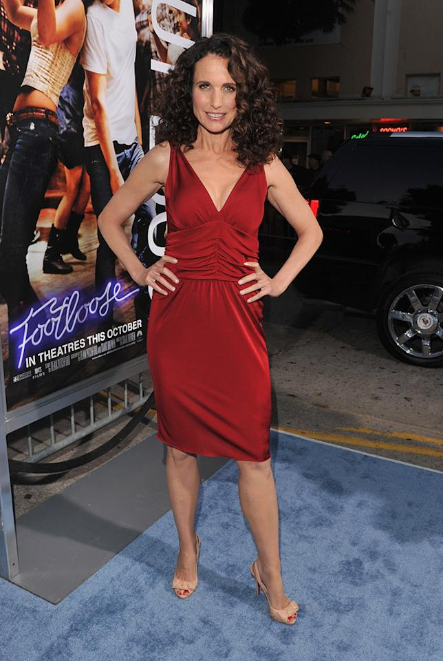 """<a href=""""http://movies.yahoo.com/movie/contributor/1800018944"""">Andie MacDowell</a> at the Los Angeles premiere of <a href=""""http://movies.yahoo.com/movie/1810164562/info"""">Footloose</a> on October 3, 2011."""