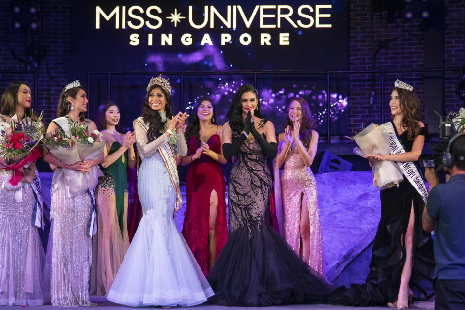 Special guest Miss Universe 2015 Pia Wurtzbach (3rd from right) at the finals of the 2019 Miss Universe Singapore beauty pageant at Zouk.