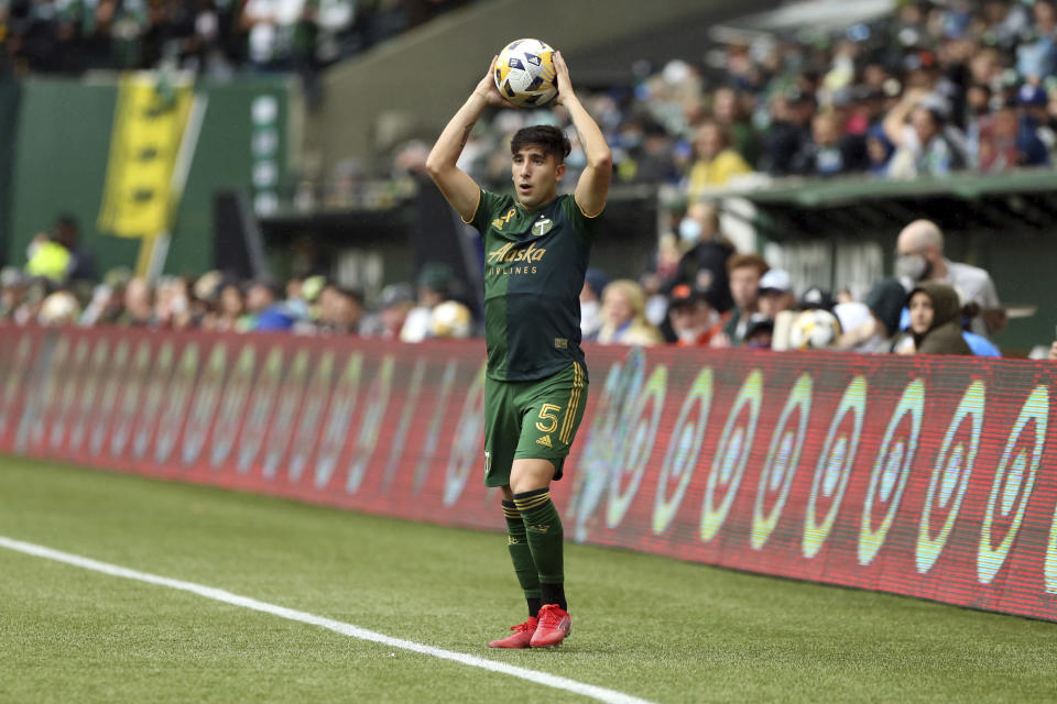 Portland Timbers defender Claudio Bravo gets ready to throw the ball in against Los Angeles FC during an MLS soccer match Sunday, Sept. 19, 2021, in Portland, Ore. (Sean Meagher/The Oregonian via AP)