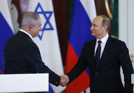 Russian President Putin and Israeli Prime Minister Netanyahu attend news conference in Moscow