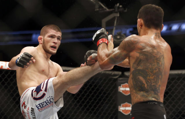 <p>He finally got a name opponent at UFC on Fox 11 on April 19, 2014, when he met future UFC lightweight champion Rafael dos Anjos in Orlando. Nurmagomedov was his usual wolverine-like self against dos Anjos, and survived a hairy moment in the second when RDA sunk in a guillotine choke. But he survived and shut dos Anjos down the rest of the way to earn 30-27 scores across the board. That marked dos Anjos' only loss in an 11-fight stretch which led him to the lightweight crown. </p>