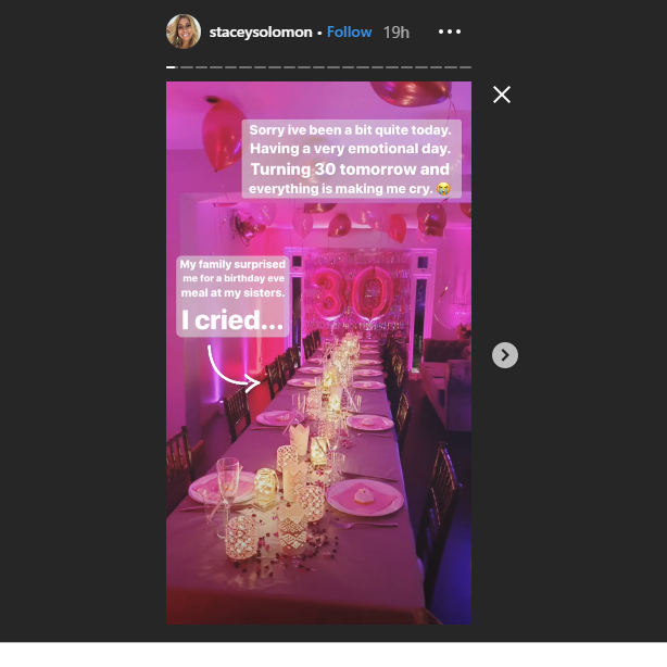 Screengrab from Stacey Solomon Instagram