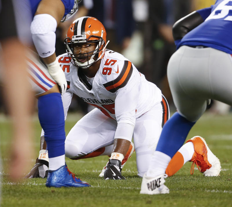 Myles Garrett will be out at least a couple of weeks with a high-ankle sprain. (AP)