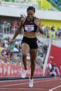 Allyson Felix finishes in second place in the women's 400-meter run at the U.S. Olympic Track and Field Trials Sunday, June 20, 2021, in Eugene, Ore. (AP Photo/Ashley Landis)