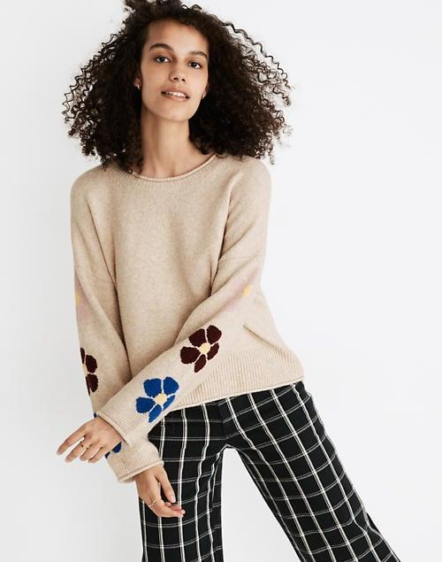 <p>The sleeve details of this <span>Madewell Belmore Floral-Sleeve Pullover Sweater</span> ($80, originally $98) are everything.</p>