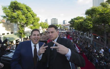 "Cast members Hill and Tatum pose at the premiere of ""22 Jump Street"" in Los Angeles"