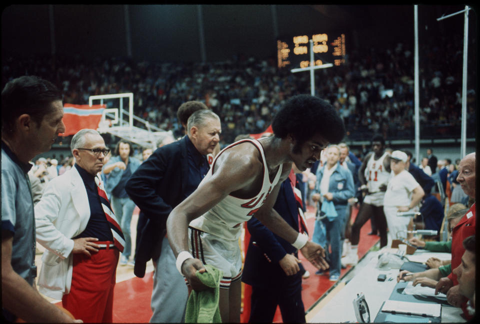 10 SEPT 1972:   The US basketball team tries to question the decision of the officials giving the gold medal to the Soviet Union in at the Olympic games in Munich, West Germany. The final score was 51-50...Photo:  © Rich Clarkson / Rich Clarkson & Assoc.