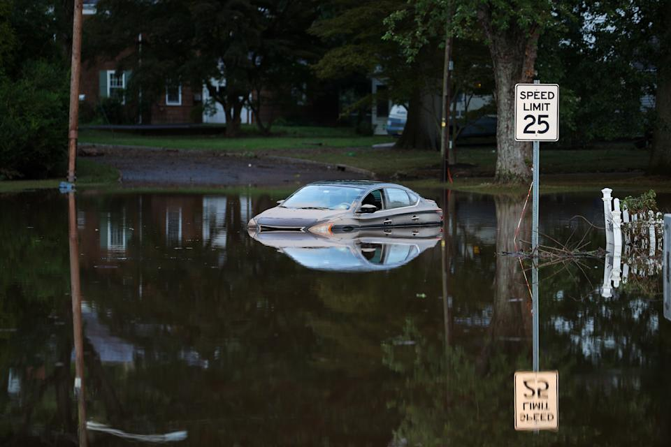 Flooded streets are seen in the Town of Bound Brook in New Jersey on September 2, 2021. The death toll from the remnants of Hurricane Ida rose to 45 Thursday after the region was hit by record rains and dangerous floods. (Photo: Tayfun Coskun/Anadolu Agency via Getty Images)