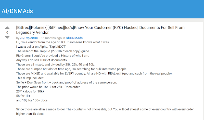 "A post on darknet market ""Dread"" advertising the hacked KYC documents' sale"