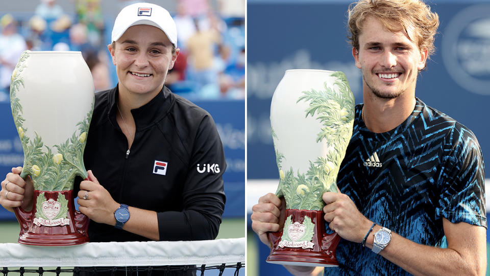Ash Barty and Alexander Zverev, pictured here after winning the Cincinnati Masters titles.