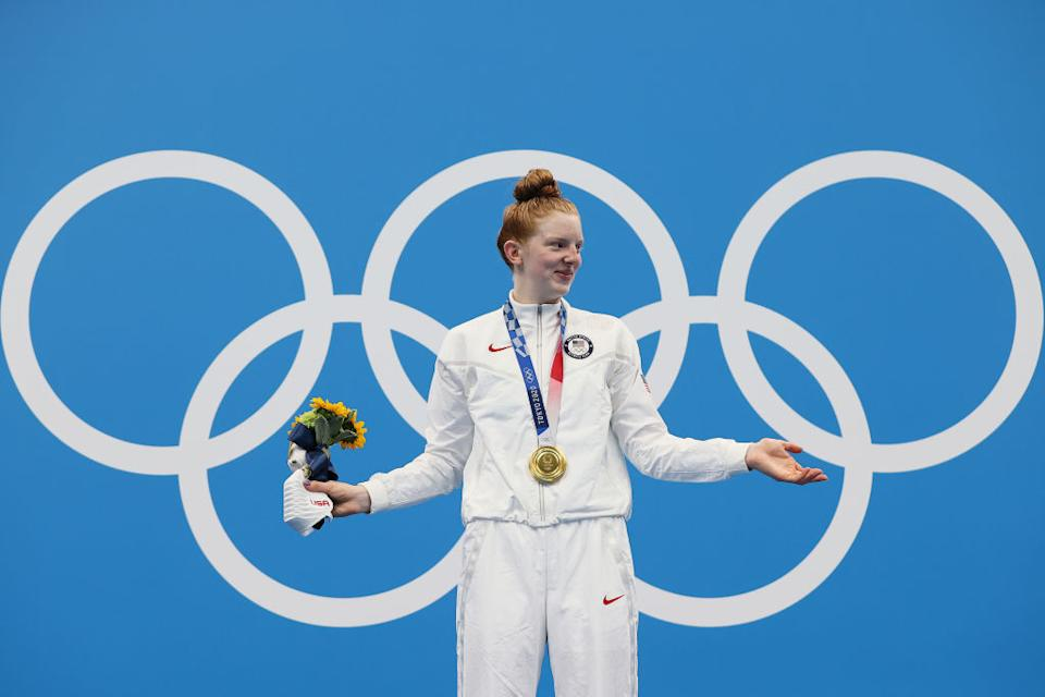 Lydia Jacoby had plans to attend the Tokyo Olympics as a fan last summer. A year later she's leaving the Games with a gold medal in hand. (Getty Images)