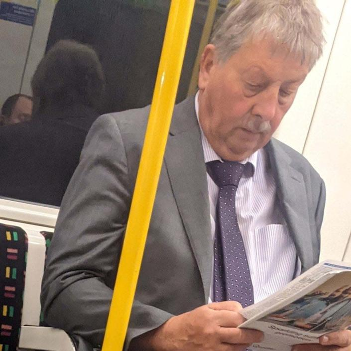 MP Sammy Wilson was pictured on the London tube without a mask - James@geeums/Twitter /PA