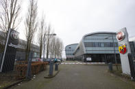 Exterior view of the building housing the Stellantis headquarters in Lijnden, near Amsterdam, Netherlands, Monday, Jan. 18, 2021. Stellantis, the car company combining PSA Peugeot and Fiat Chrysler, was launched Monday on the Milan and Paris stock exchanges, giving life to the fourth-largest car company in the world. (AP Photo/Peter Dejong)