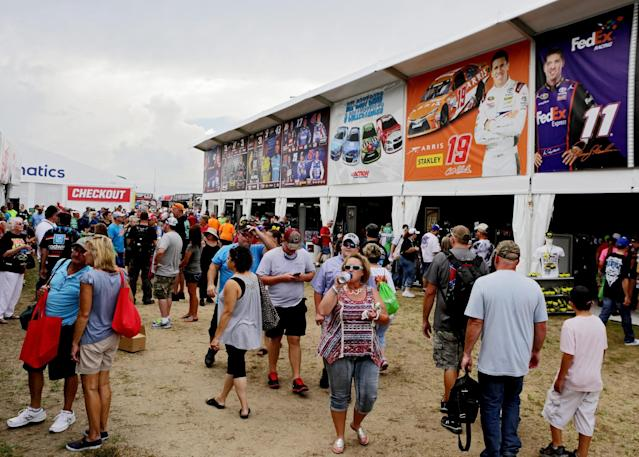NASCAR fans haven't unanimously endorsed Fanatics' move to a souvenir tent. (Getty)
