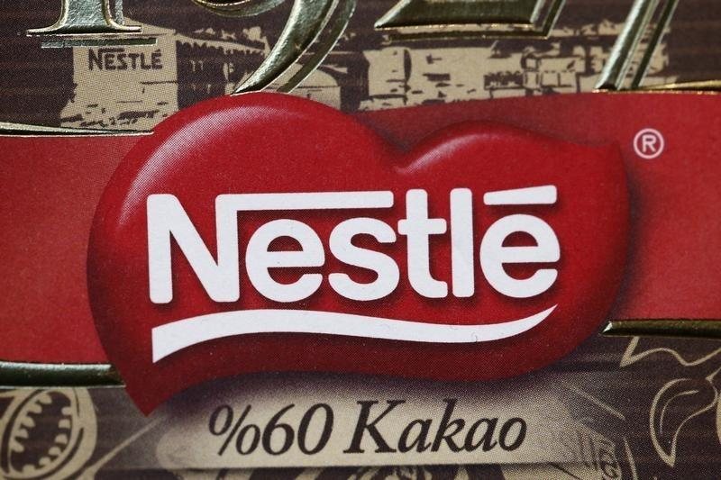 A Nestle logo is pictured on sample products on display at the company headquarters in Vevey